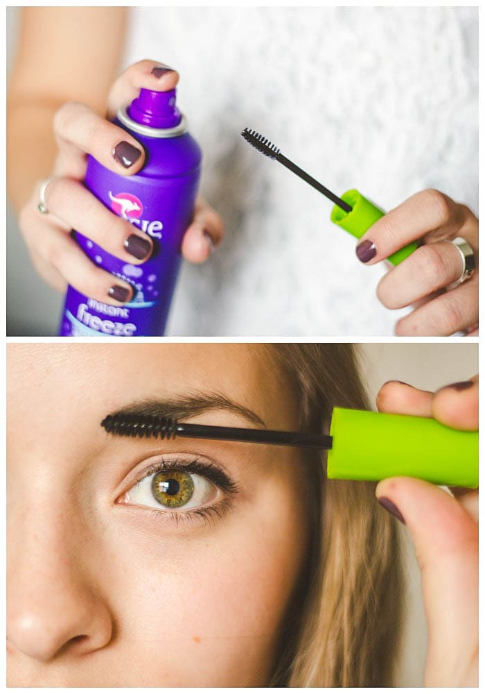 Tried & True Makeup Hacks - help your brows stay in place by spraying an unused mascara wand with hairspray and brushing across your eyebrow! { lilluna.com }