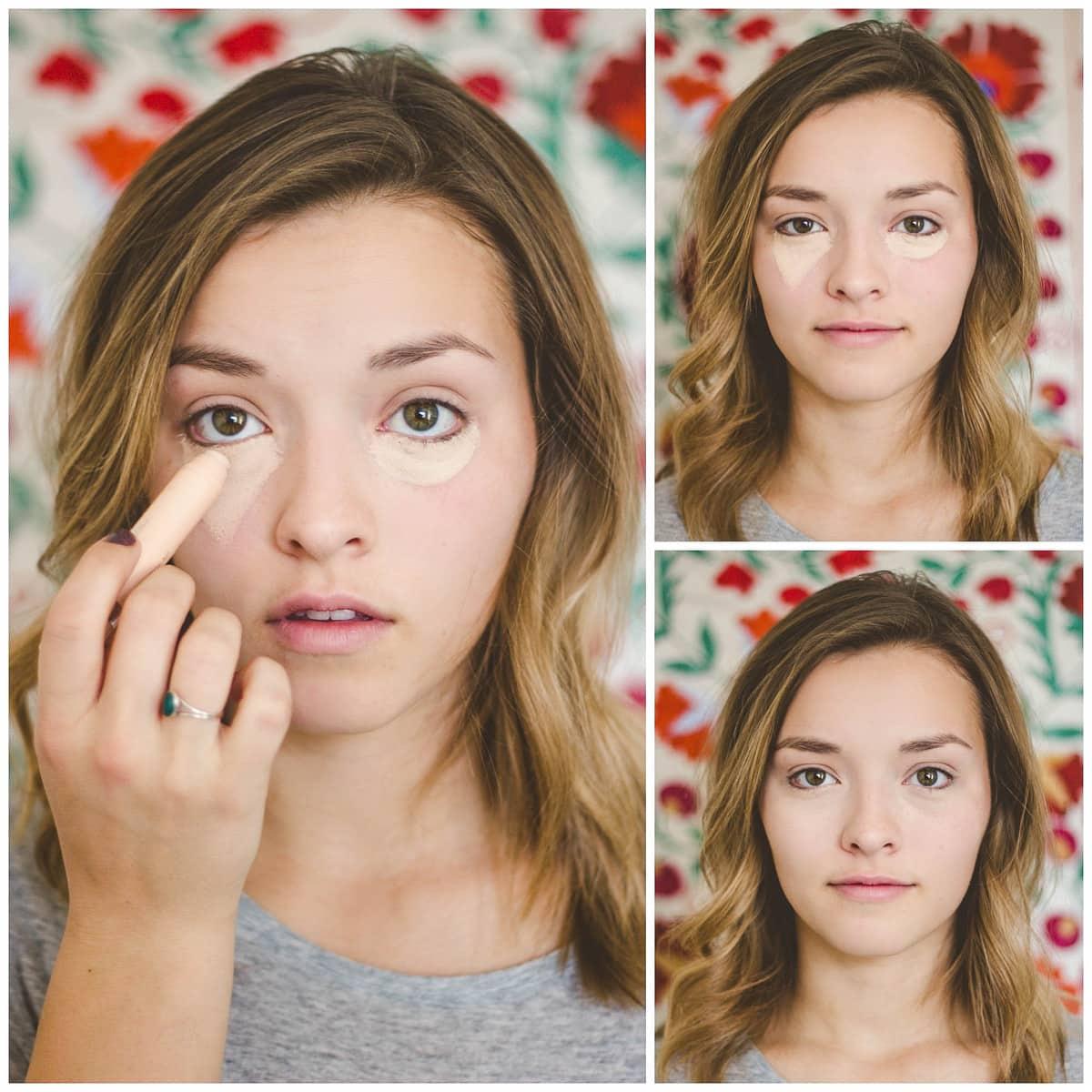 Tried and True Makeup Hacks - cover dark eyes by creating a triangle shape instead of a circular shape underneath the eye! { lilluna.com }