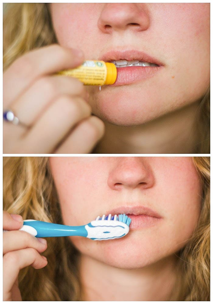 Tried and True Makeup Hacks - exfoliate your lips before putting on lipstick by putting on chapstick or lip balm and then brushing away dead skin with a toothbrush! { lilluna.com }
