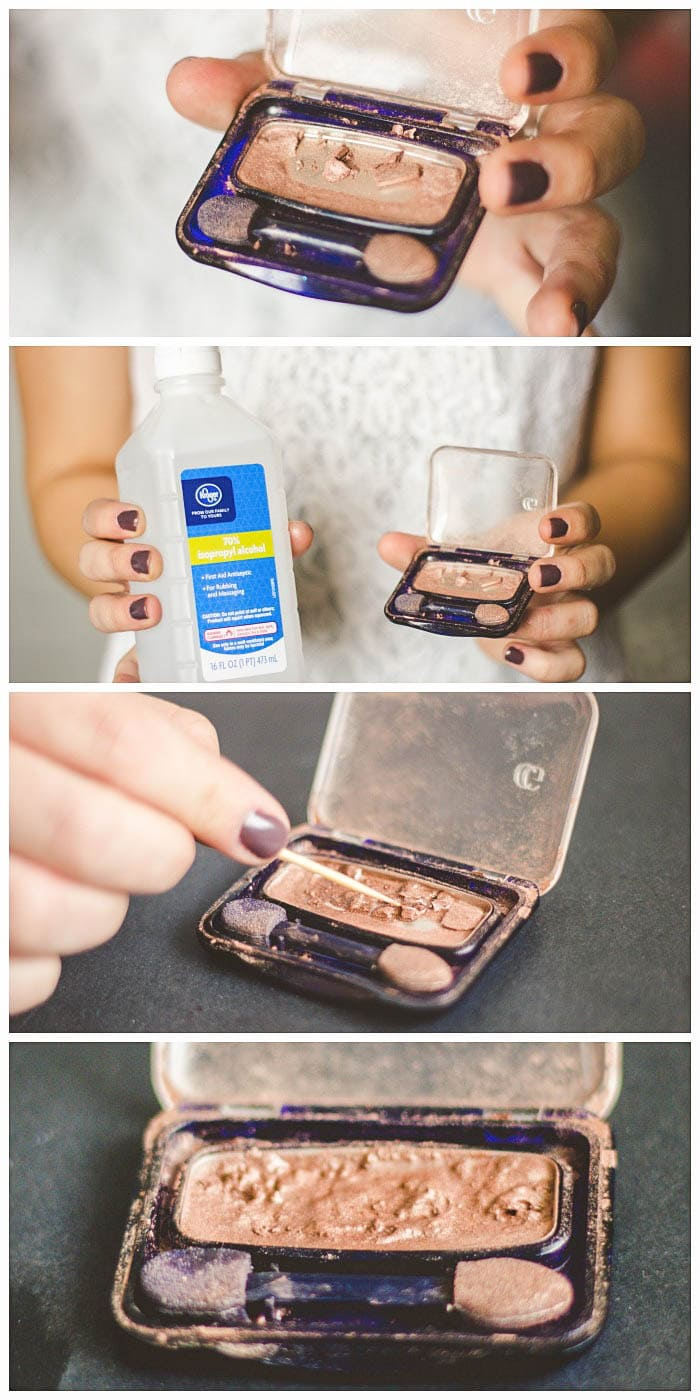 Tried and True Makeup Hacks - fix cracked powder makeup by mixing in rubbing alcohol and then let it set! { lilluna.com }