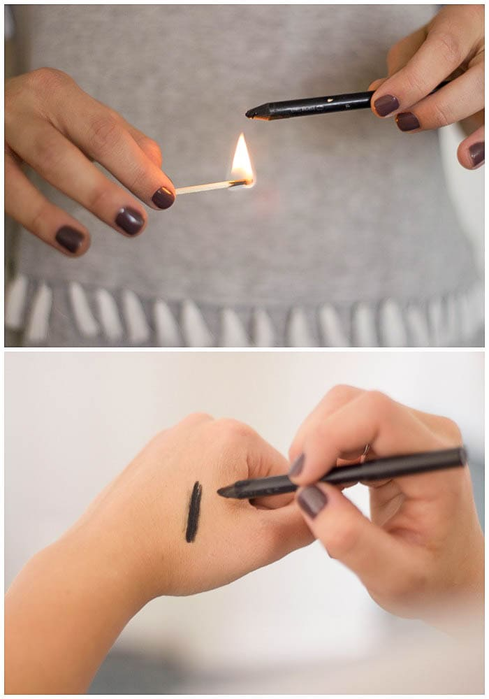 Tried and True Makeup Hacks - turn your regular pencil eye liner into a gel liner using heat! { lilluna.com }
