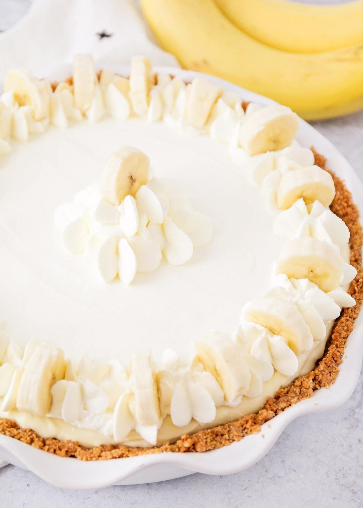 Banana pudding cheesecake recipe close up