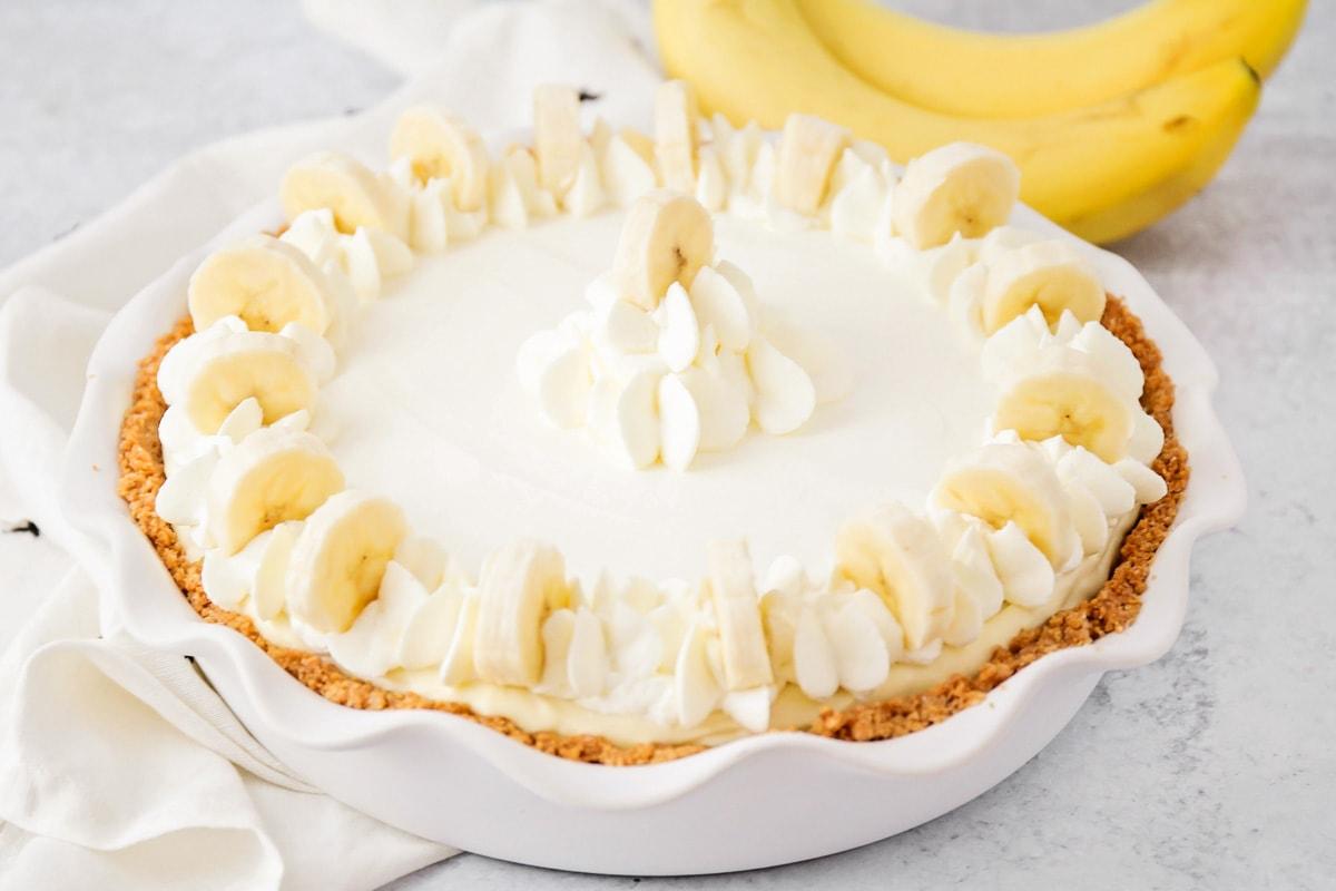 Banana pudding cheesecake in a baking dish