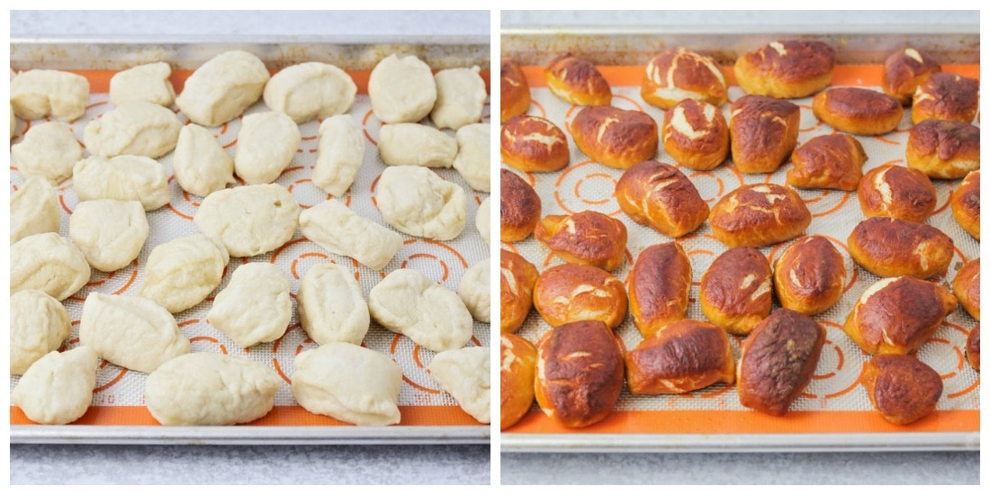 Pretzel bites on a sheet pan before and after baking