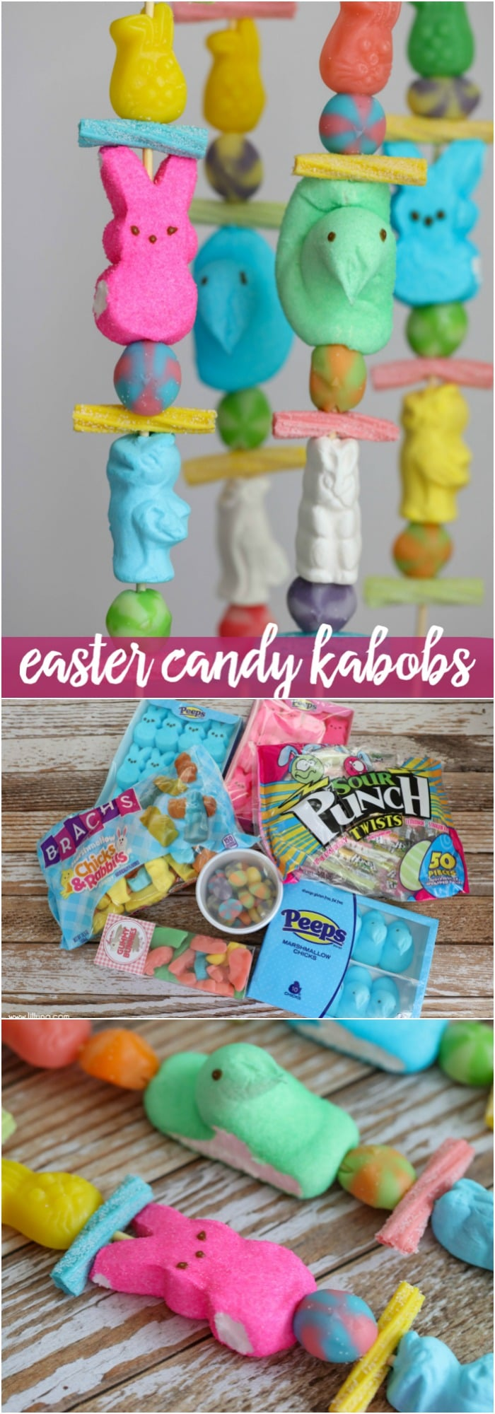 Easter Candy Kabobs - a simple, quick and fun treat to make for Easter using all the delicious gummy candy found this holiday!