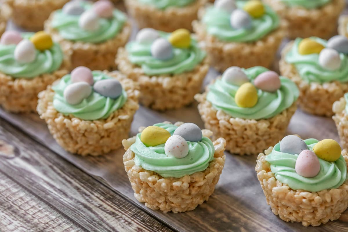 Rice Krispie Easter Nests on wax paper