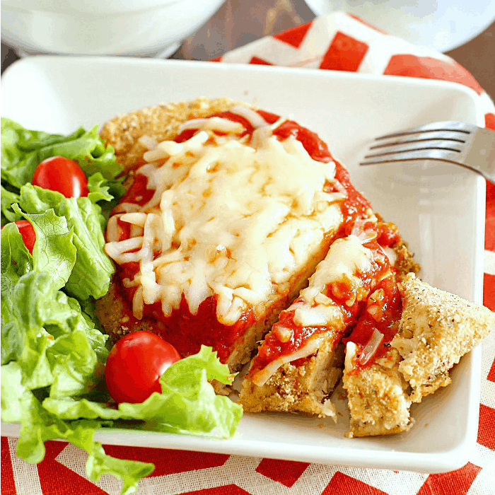 Healthy Chicken Parmesan on plate
