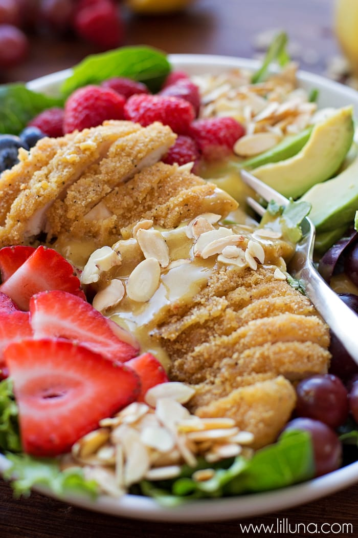 Chicken Berry Salad with homemade Honey Mustard Dressing - one of the heartiest, most delicious salad recipes you'll try!