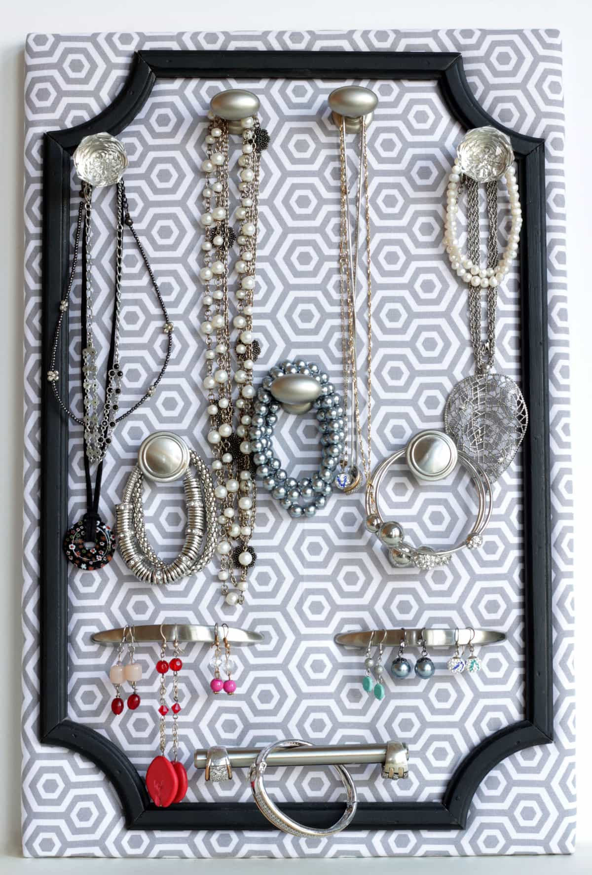 DIY Jewelry Organizer tutorial- a great idea for any home or as a gift, especially for a birthday gift or Mother's Day Gift!