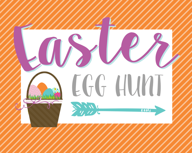 FREE Easter Egg Hunt Signs - just download and print in one of 4 bright colors to use at your Easter Egg Hunt!
