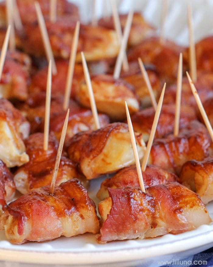 Barbecue Bacon and Chicken Bites - simple, quick delicious chicken smothered in barbecue sauce and wrapped in bacon. It's a new favorite!