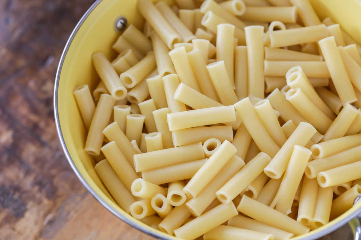 Cooked ziti noodles to use in baked ziti recipe