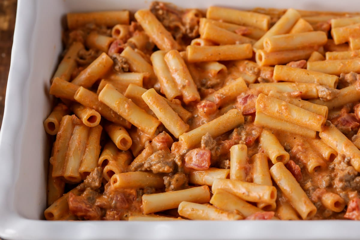 Layering easy baked ziti in a baking dish