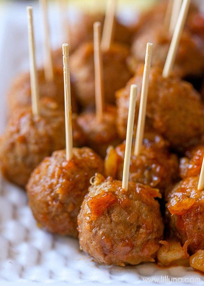 Barbecue Pineapple Meatballs - just 3 ingredients - barbecue sauce, frozen meatballs, and crushed pineapple and perfect as an appetizer recipe for parties and get togethers!