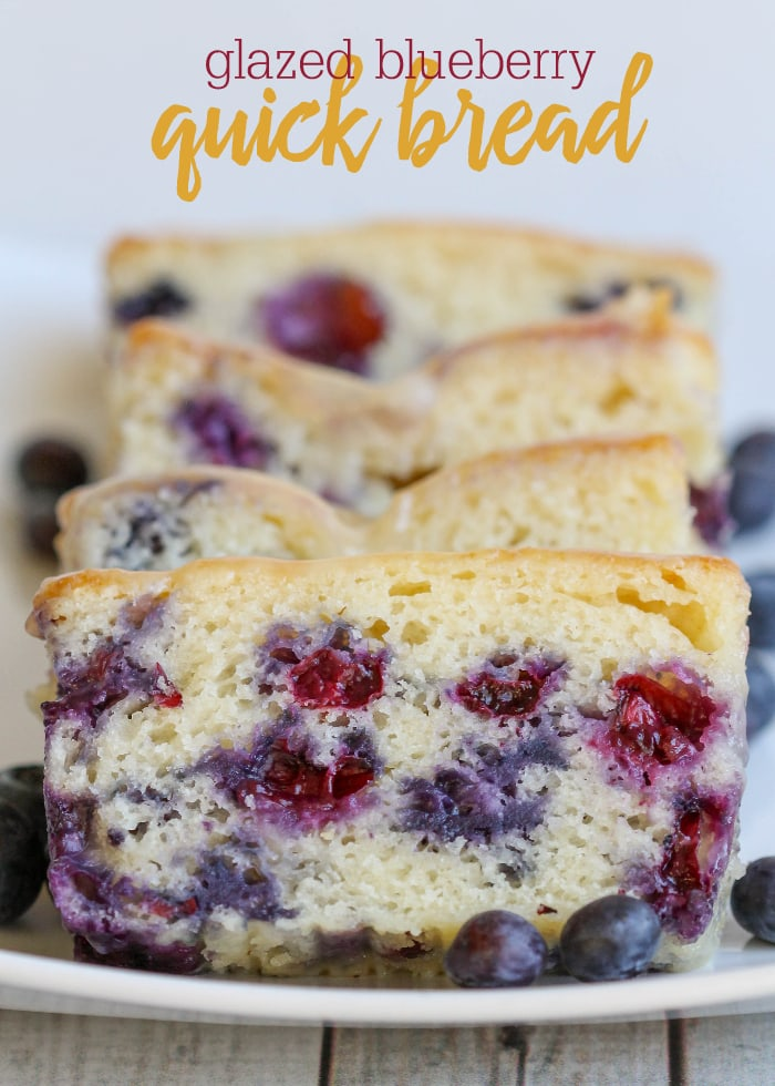 Delicious Glazed Blueberry Quick Bread - no yeast involved, filled with blueberries and topped with a yummy glaze!