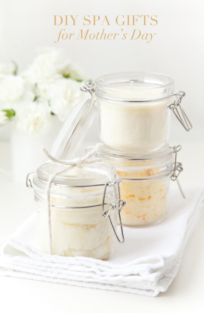 DIY Spa Gifts for Mother's Day - How to make homemade candles, bath salts and sugar scrubs!