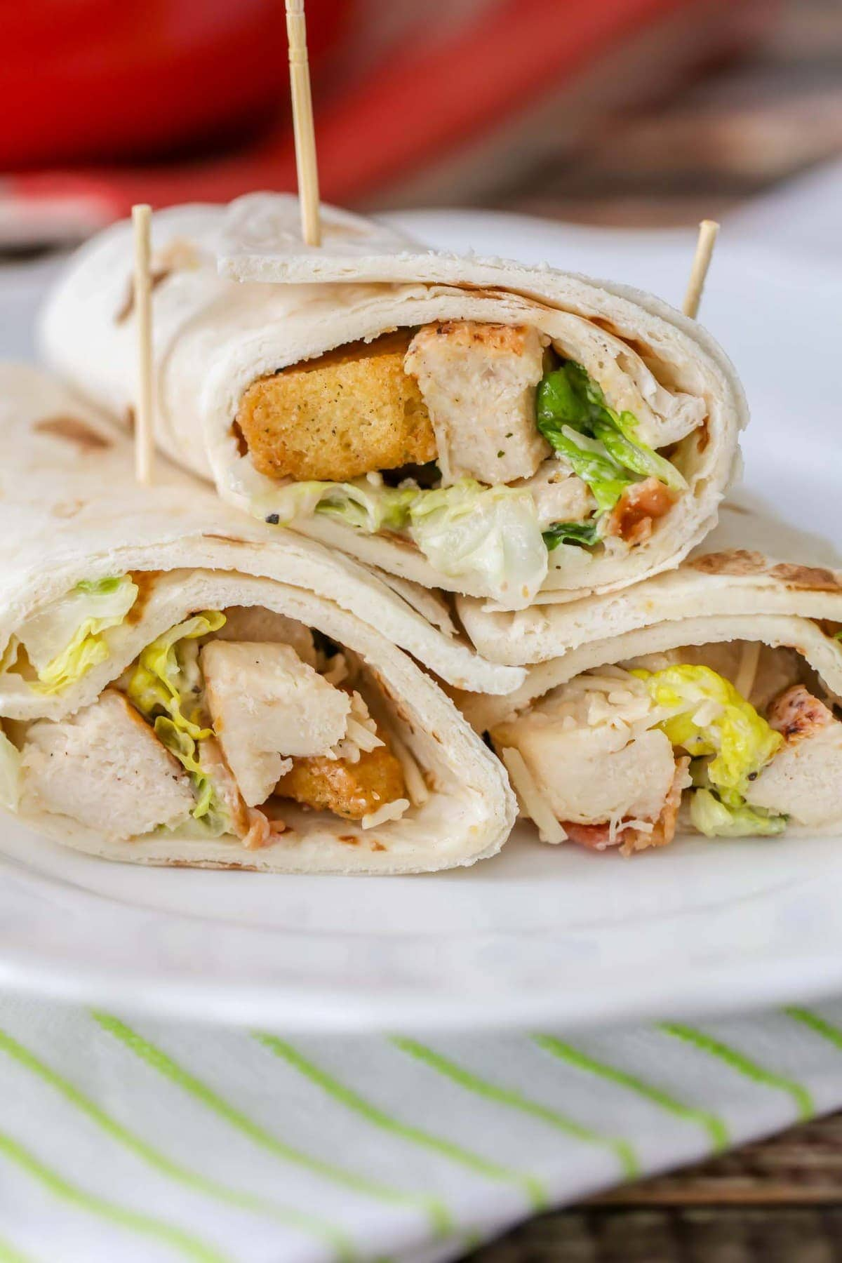 Chicken Caesar Wraps Wrapped in Flour Tortilla