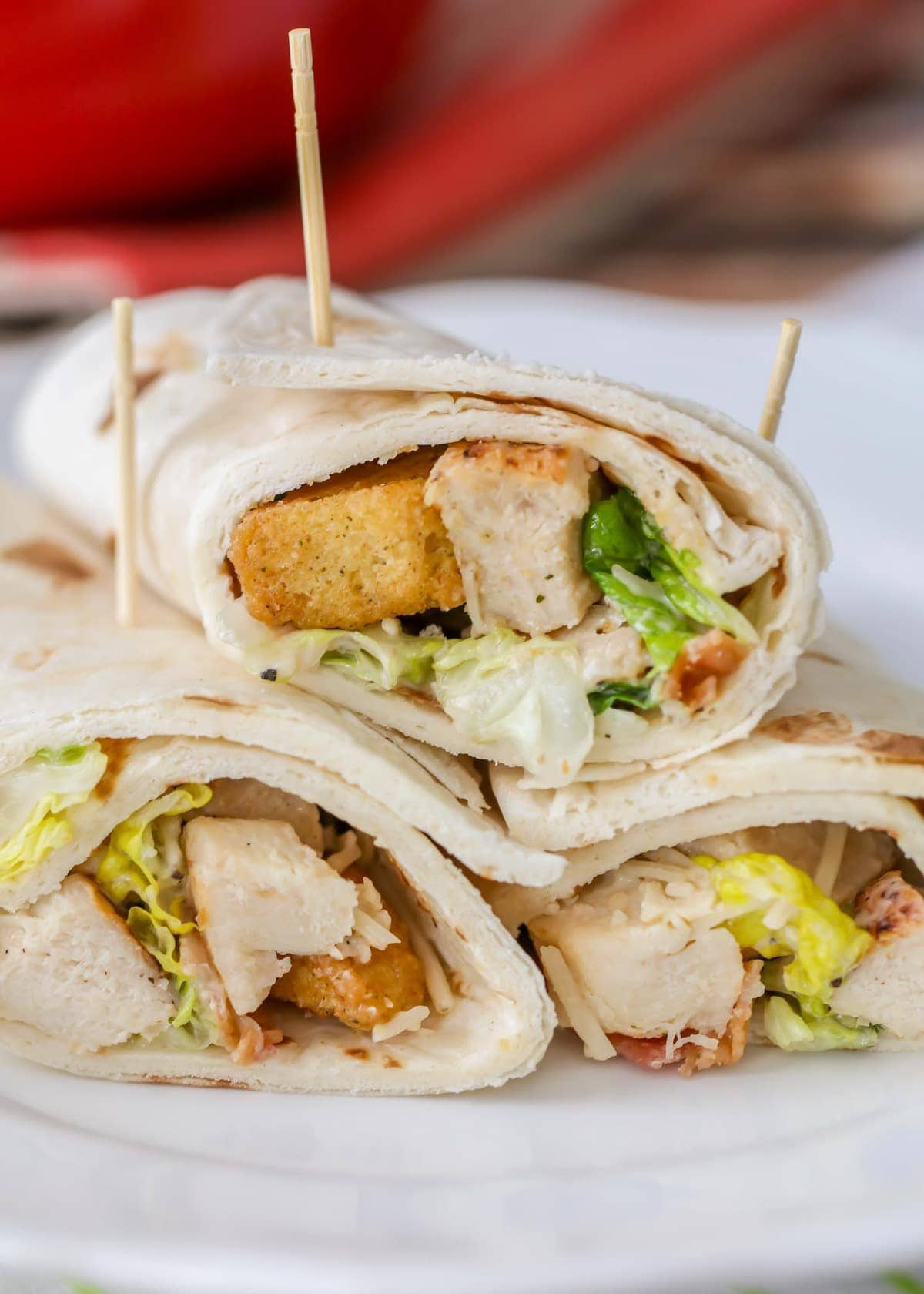Caesar Salad with Grilled Chicken in Wrap