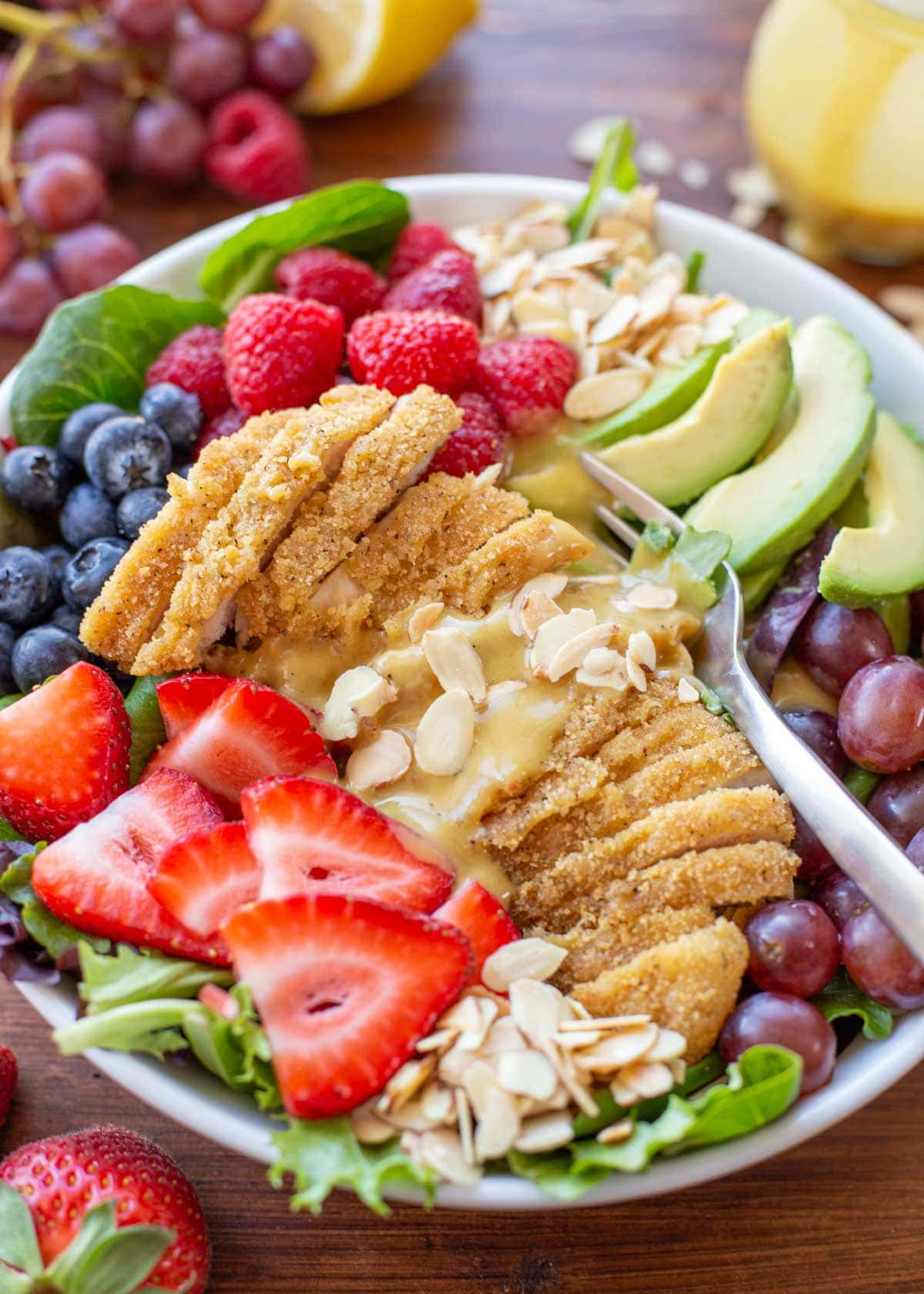 Honey and Mustard chicken salad with berries and nuts