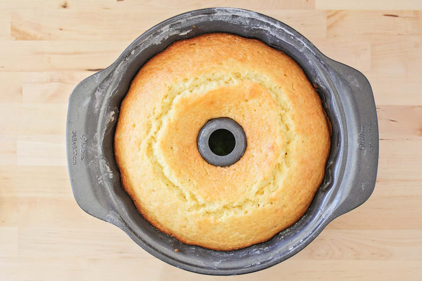 Moist lemon pound cake in a bundt pan