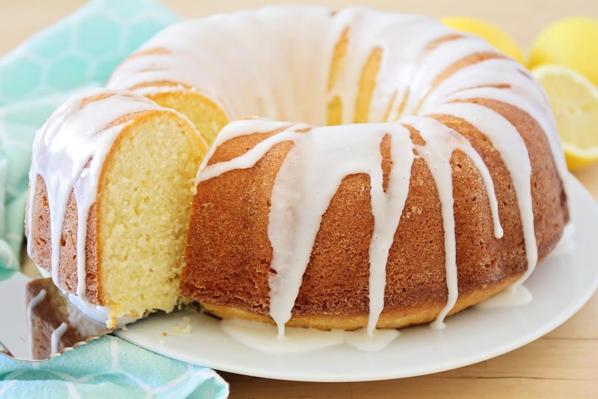 Lemon Pound Cake with glaze on a white plate