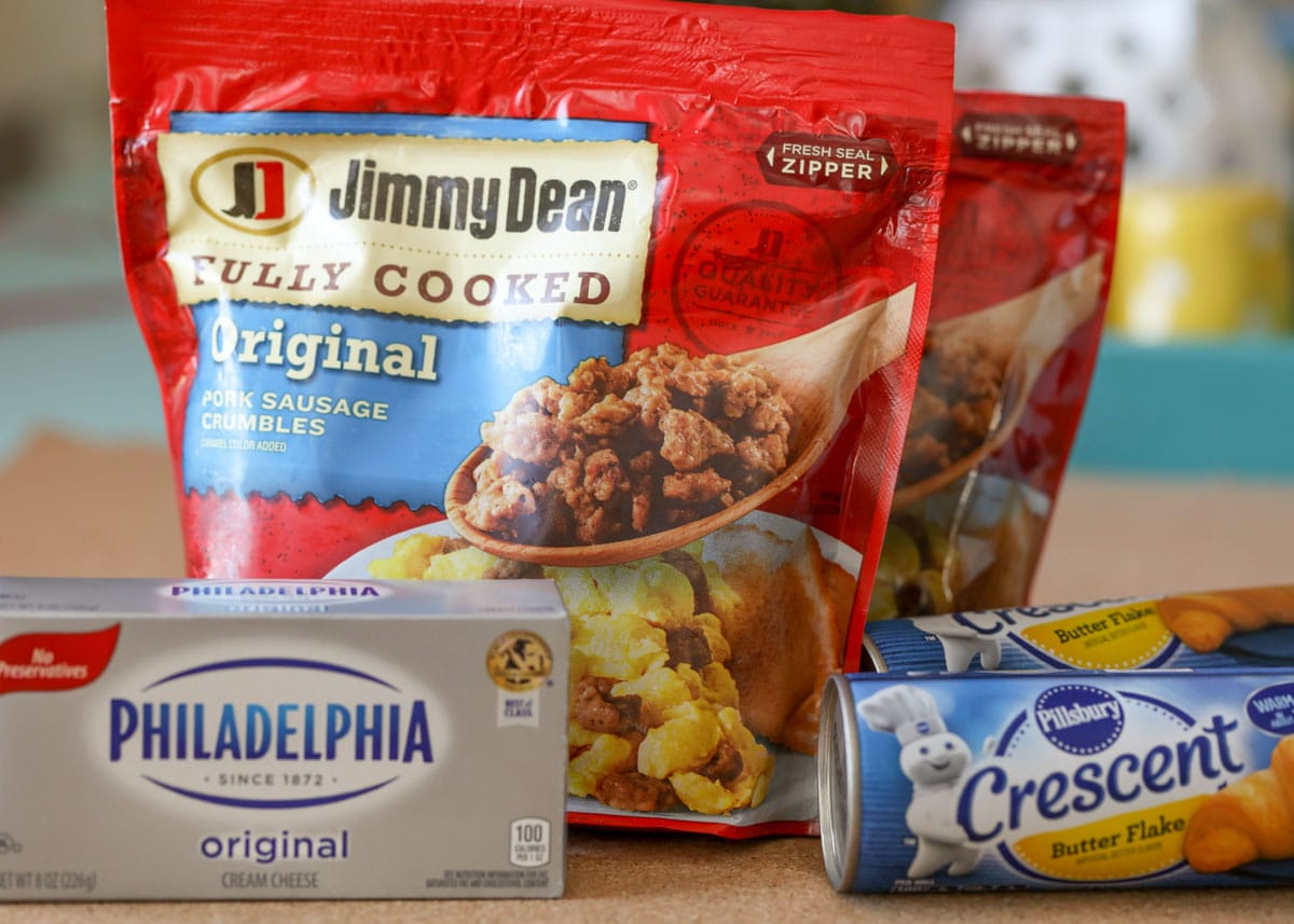 Sausage cream cheese casserole ingredients including Jimmy Dean sausage