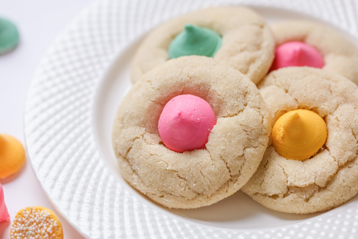 Sugar Cookie Blossoms topped with mint meltaway candies