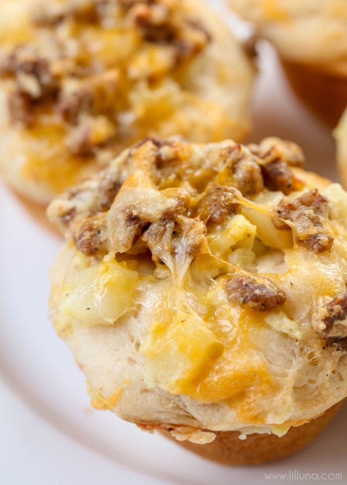 Breakfast Biscuit Cups - filled with sausage, eggs, potatoes, cheese and more! So simple you'll want to make these for breakfast all the time!