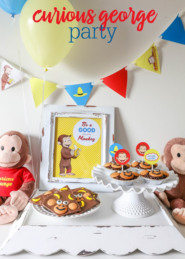 Homemade Monkey Bark Monkey Pudding Pies and FREE Curious George Party Printables to celebrate & Curious George Party Ideas - Now on Hulu! - Lil\u0027 Luna