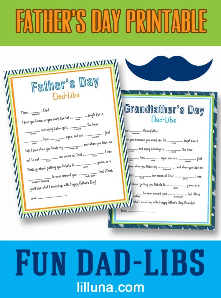 image regarding Happy Birthday Mad Libs Printable named Free of charge Fathers Working day Father-Lib Printable - Lil Luna