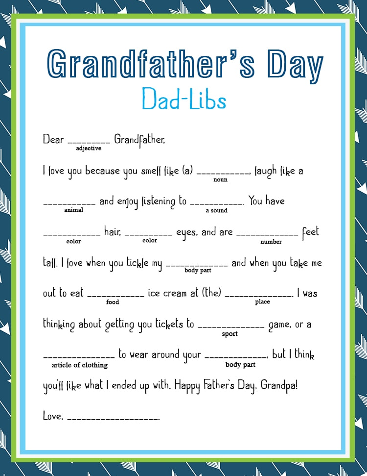 FREE Father's Day Dad-Lib Printable - Lil' Luna