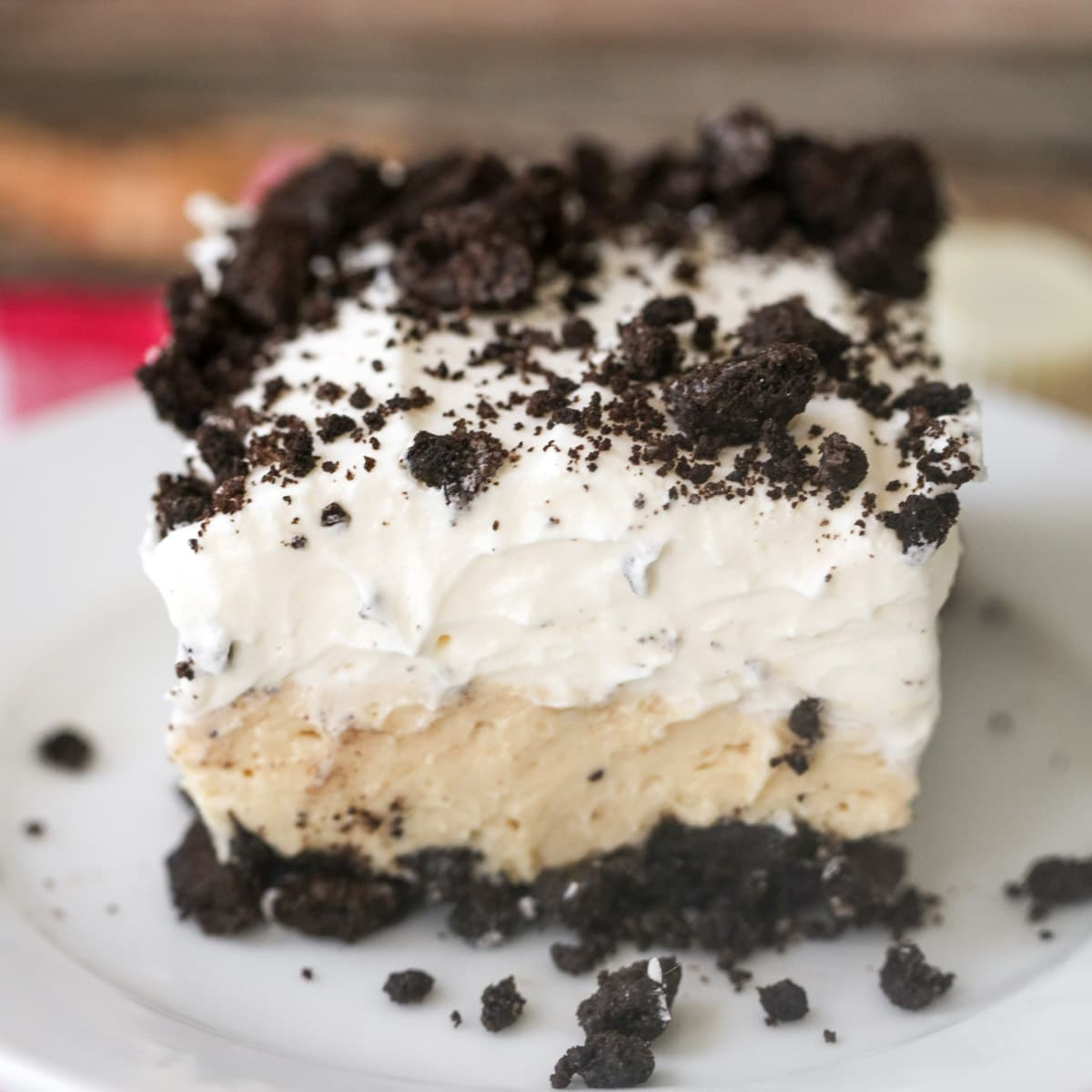 A slice of oreo delight with several layers