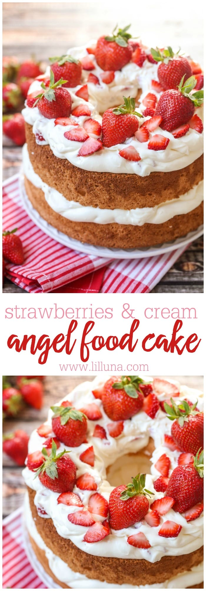 Angel Food Cake With Strawberry Whipped Cream Filling