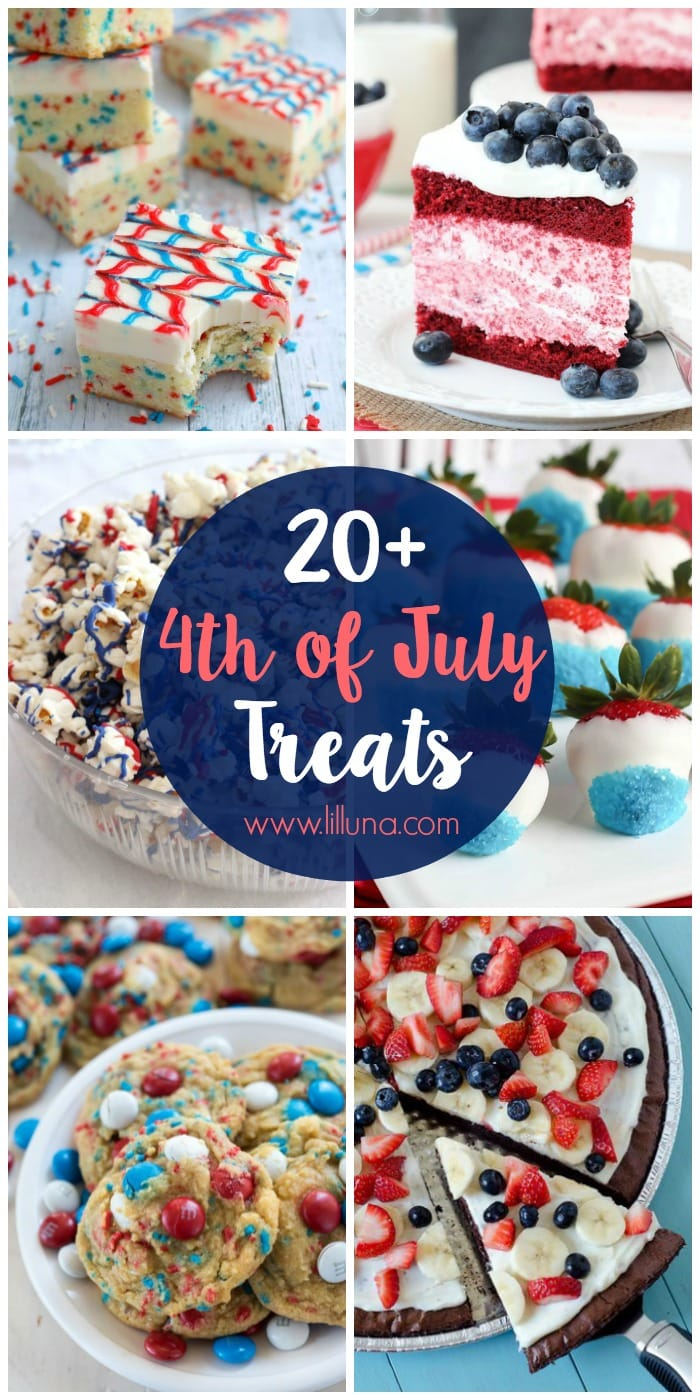 20+ 4th of July Treats - lots of red, white and blue treats and desserts perfect for the 4th of July!! See it on { lilluna.com }