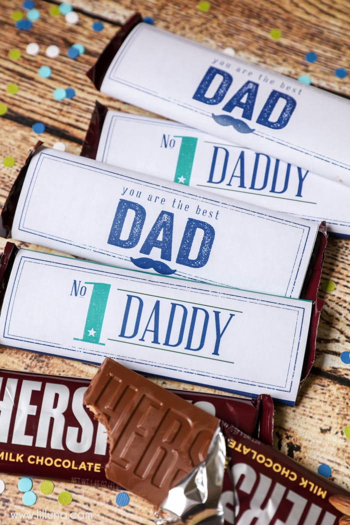 FREE Father's Day Candy Bar Wrapper Printables - a cute, simple and quick way to let dad know he's #1!