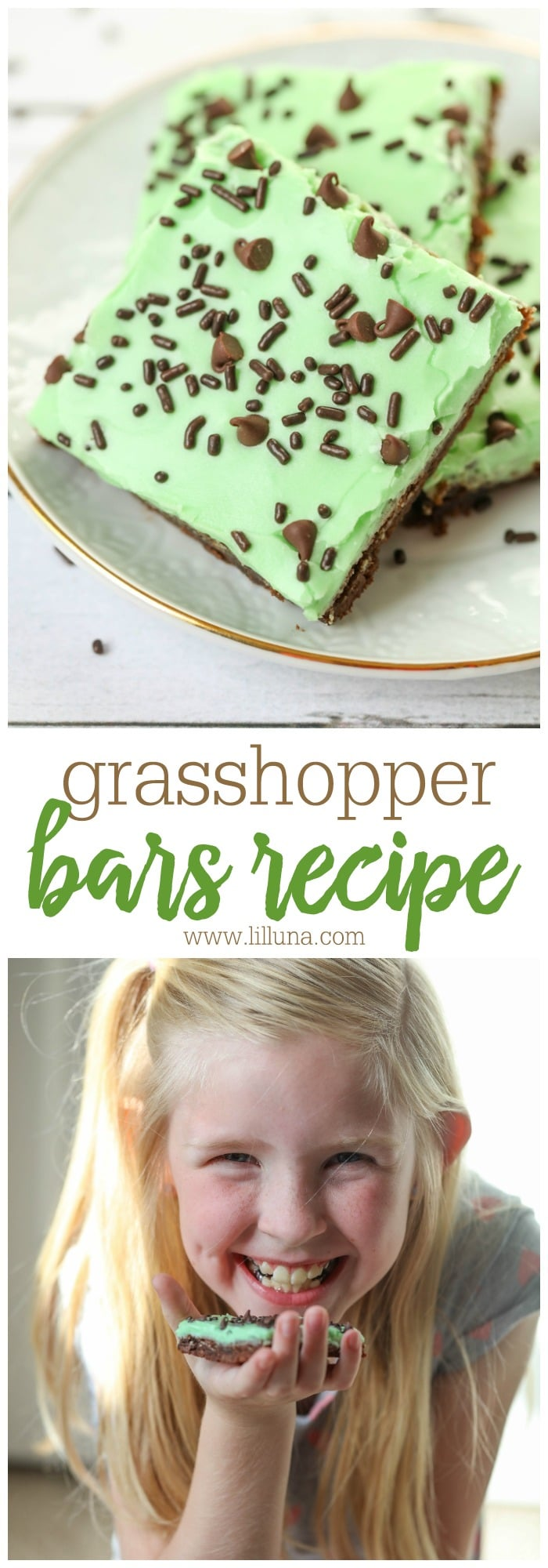 Grasshopper Bars - a chocolate-y cookie base topped with a mint buttercream frosting and mini chocolate chips.
