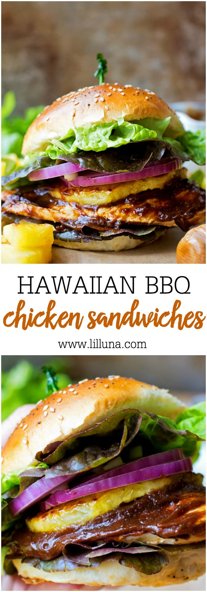 Hawaiian BBQ Chicken Sandwiches - simple, delicious and perfect for your next BBQ!