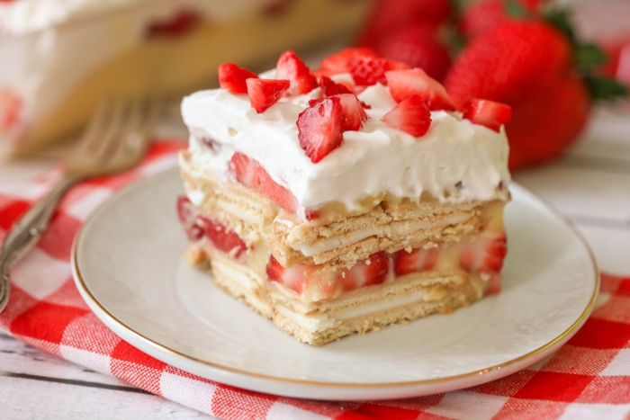 slice of NO-BAKE Strawberry Shortcake on plate