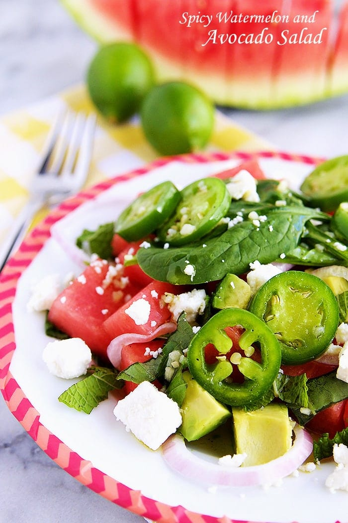 A juicy watermelon, creamy avocado, and a crisp jalapeno all combined with a light and tasty dressing, is all you need to enjoy this simple, but flavorful Spicy Watermelon and Avocado Salad this Summer.
