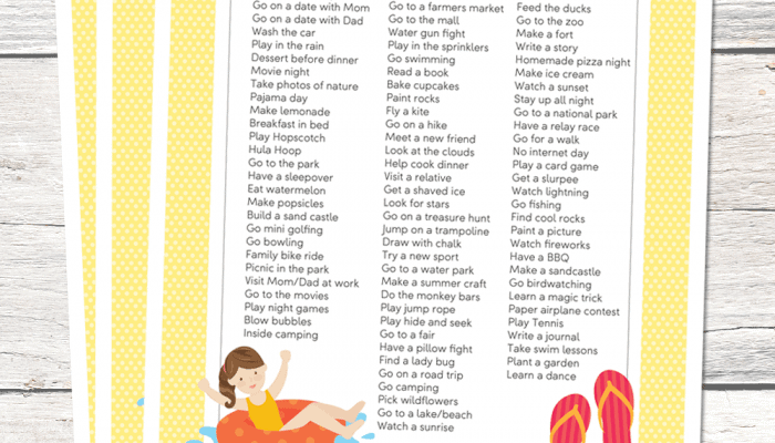 Summer Fun List Printable