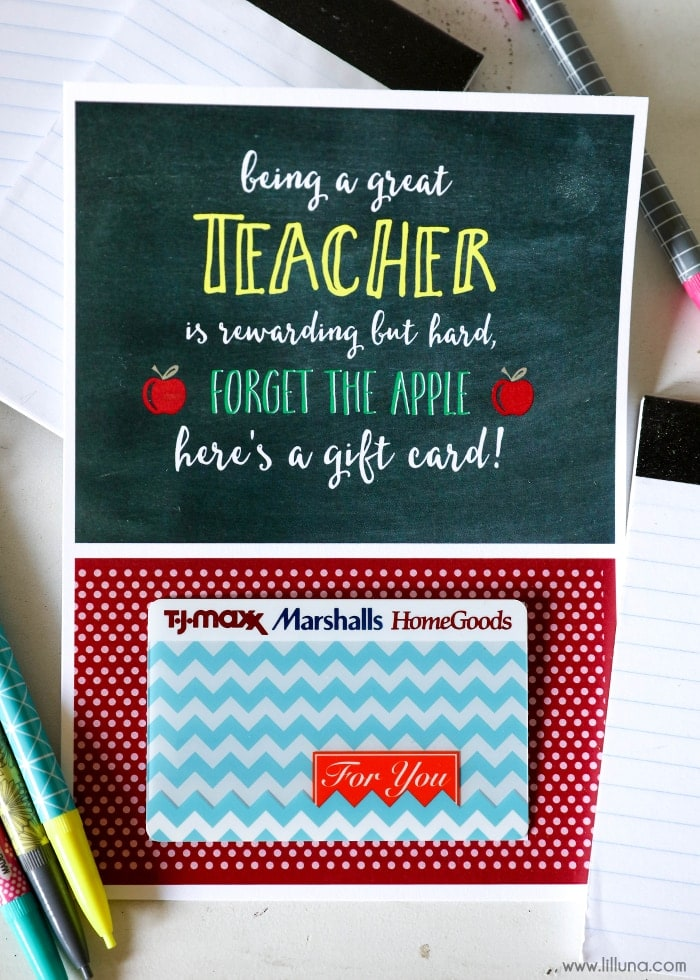 free teacher appreciation gift card holder perfect for your favorite teacher and takes just a - Marshalls Hours Christmas Eve