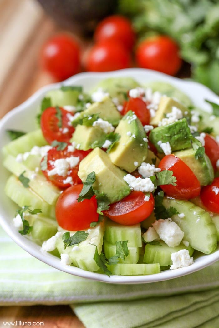 Tomato Cucumber Avocado Salad - a simple, delicious and quick salad perfect for dinner or for BBQs and get togethers. So many great flavors!