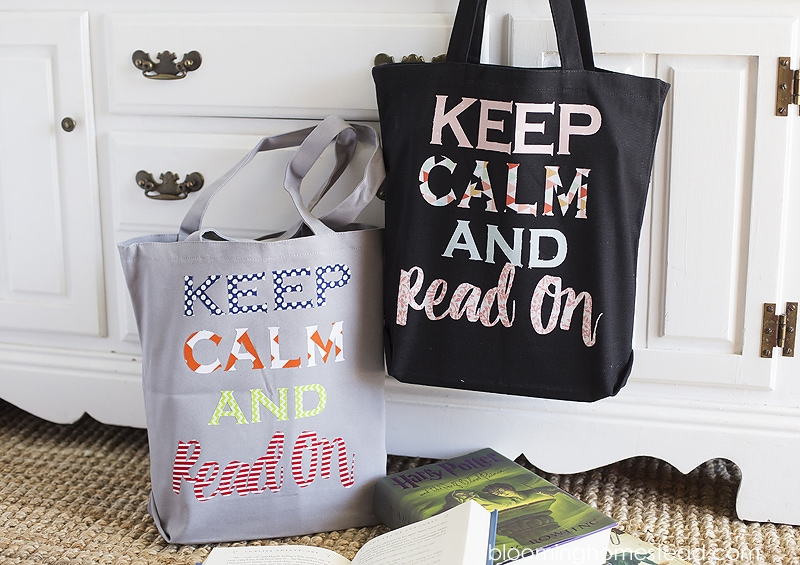 Check out these fun custom DIY Library Book Bags