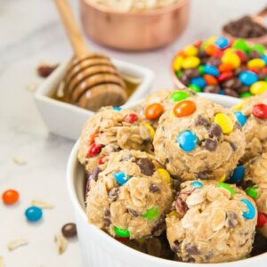 Peanut Butter and M&M's Snack bites are perfect for quick energy!