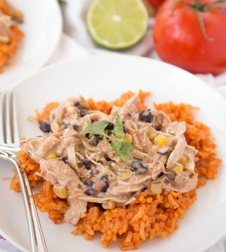 fiesta chicken over rice on white plate