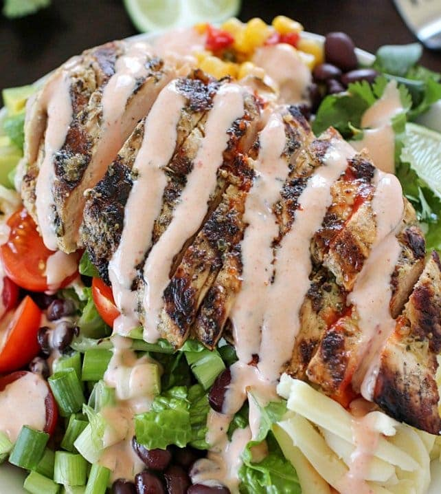 grilled chicken burrito bowl with dressing