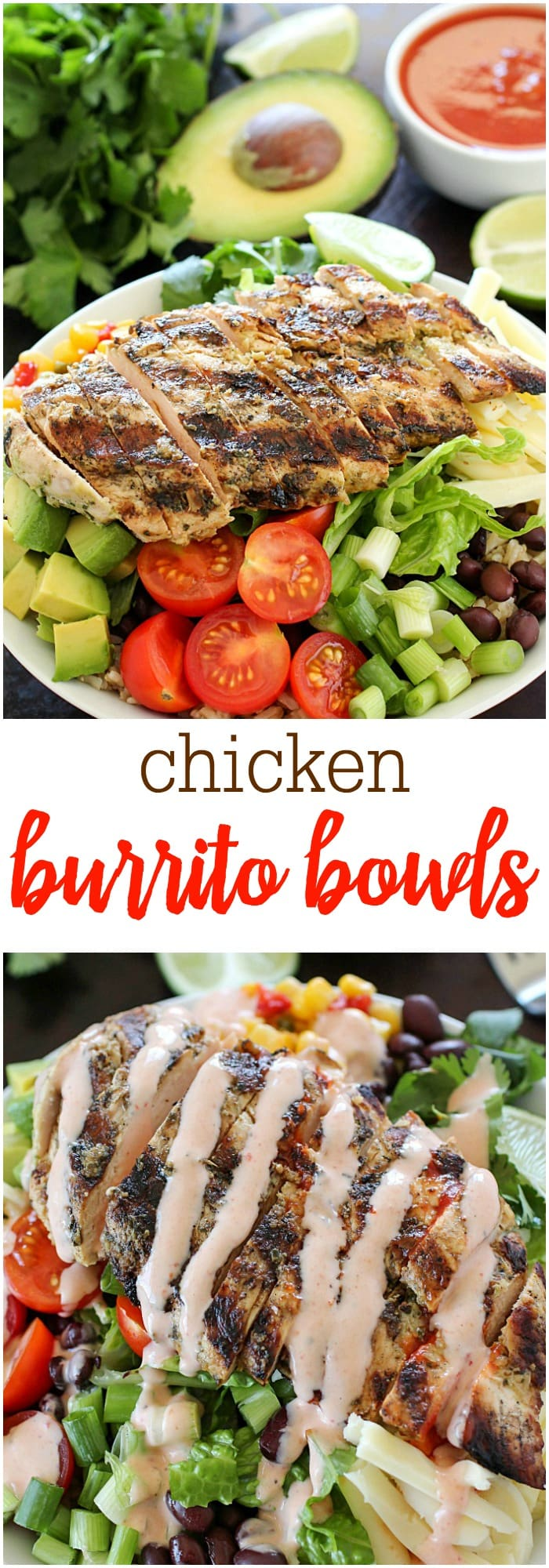 Ditch the tortilla and put everything we love about burritos into a yummy burrito bowl! This recipe is so easy and adaptable to what you like. The best part of this recipe is the tender chicken!