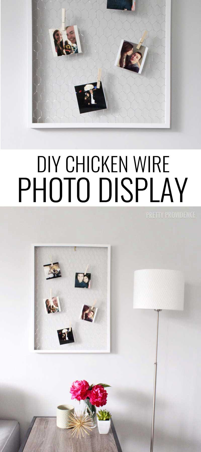 Love this DIY chicken wire photo display!! So fun for those instagrams you print!