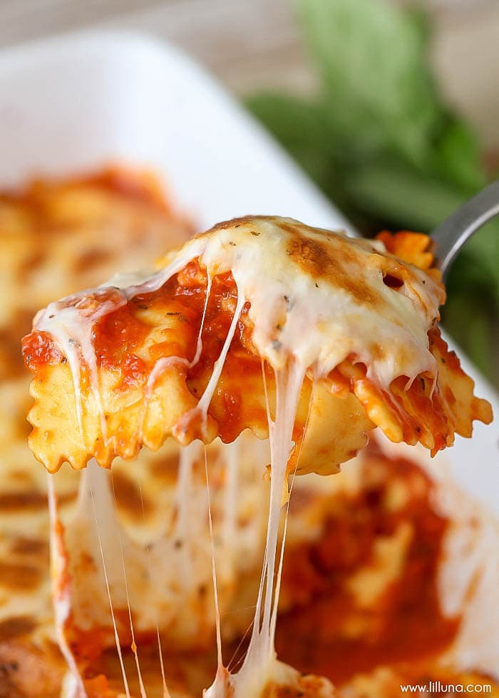 spoonful of cheesy baked ravioli