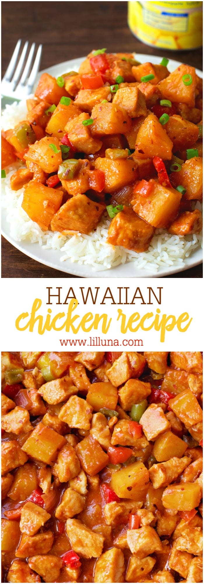 Hawaiian Pineapple Chicken that is full of flavor and chunks of juicy chicken, pineapple and more. Everyone will love this recipe!